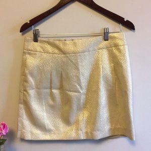 NWT Gold Metallic Lined Mini Skirt